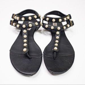 Steve Madden White Pearl Studded Black Sandal